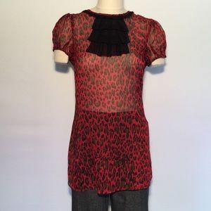XXI TWIST Red/Black Leopard Print Sheer Tunic